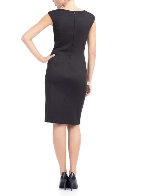 Printed Short Sleeve Scuba Dress, Black, hi-res