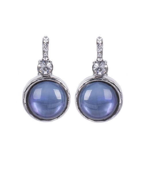 Marble Stone Crystal Earrings , Blue, hi-res