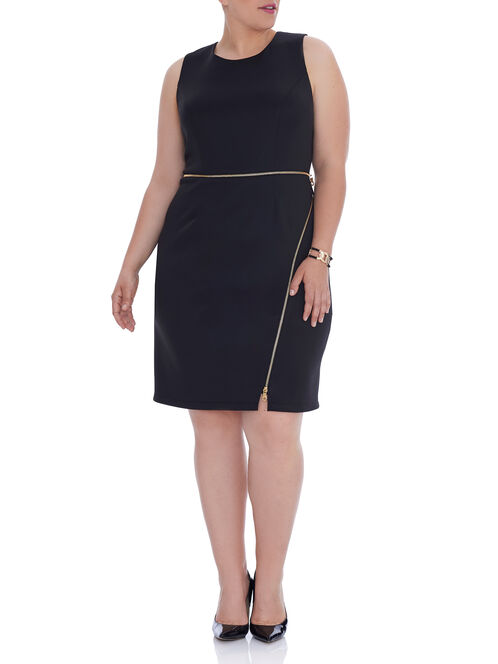 Sleeveless Scuba Zipper Trim Dress, Black, hi-res