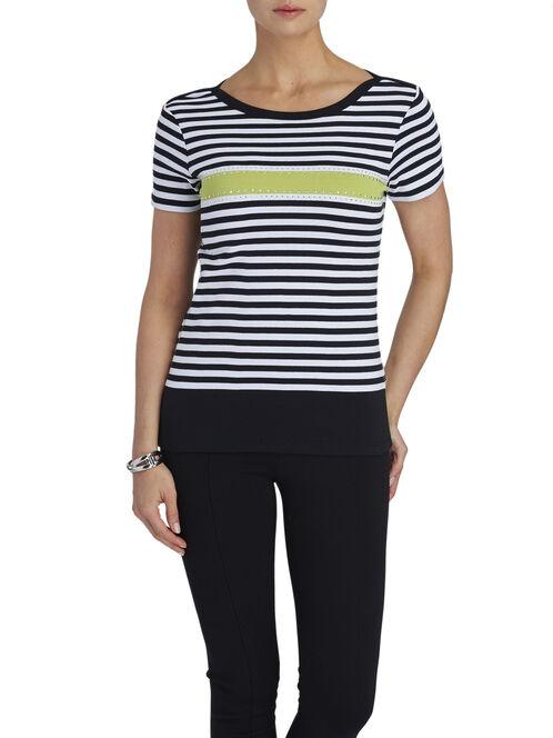 Short Sleeve Sequined T-Shirt, Black, hi-res