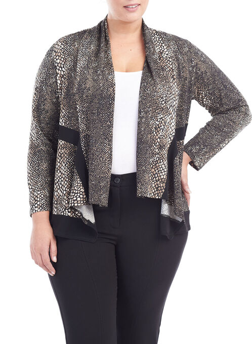 Animal Print Open Front Jacket, Black, hi-res