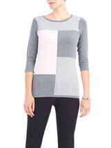 Studded Trim 3/4 Sleeve Knit Top, Grey, hi-res