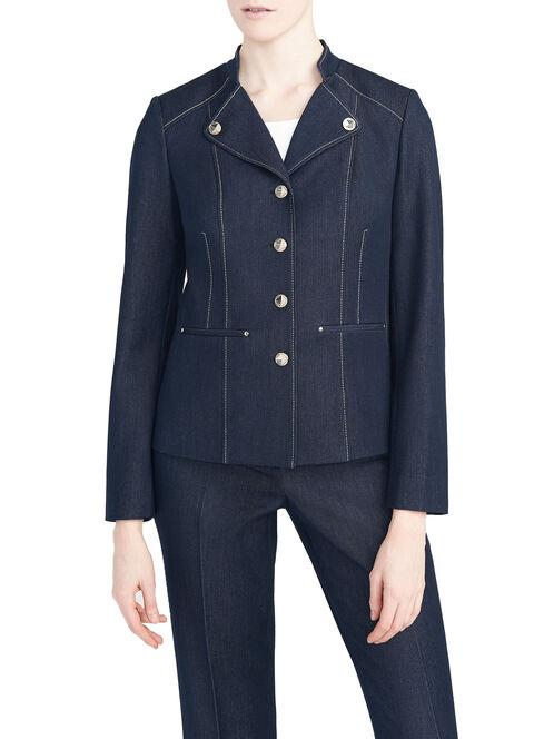 Seam & Metal Button Detail Denim Blazer, Blue, hi-res