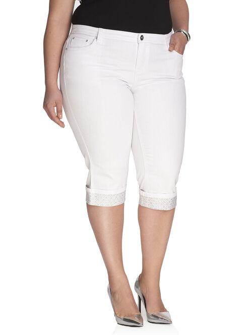 Denim Jewelled Trim Capri Pants, White, hi-res