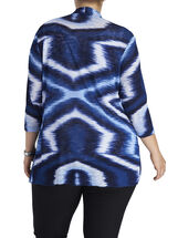 3/4 Sleeve Printed Cover Up, Blue, hi-res
