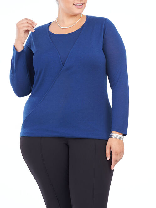 Long Sleeve Drape Neck Sweater, Blue, hi-res