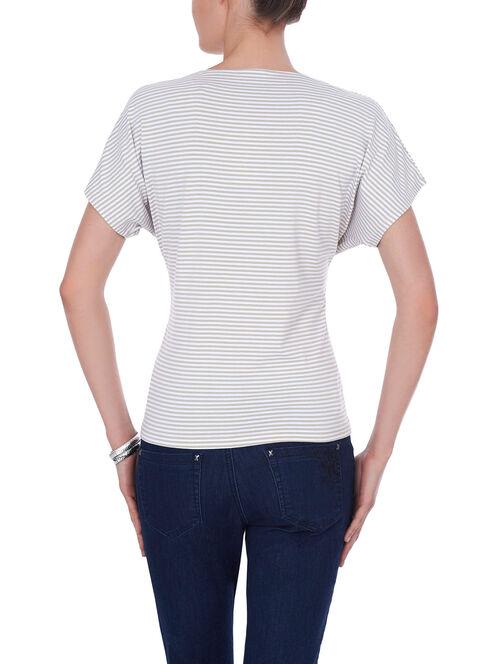 Printed Sequin Trim T-Shirt , Brown, hi-res