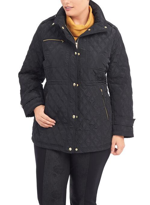 Quilted Gold Zipper Jacket, Black, hi-res