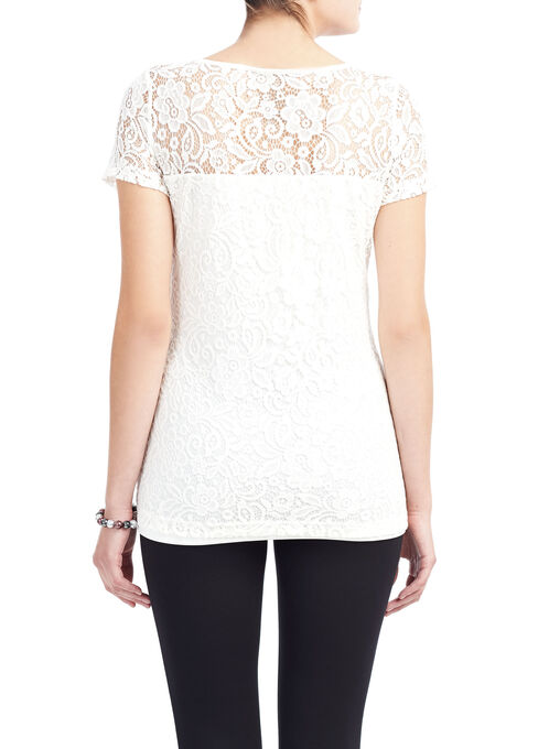 Scoop Neck Lace Top, Off White, hi-res