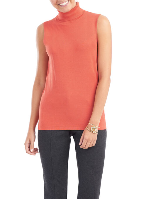 Sleeveless Knit Turtleneck Top, Orange, hi-res