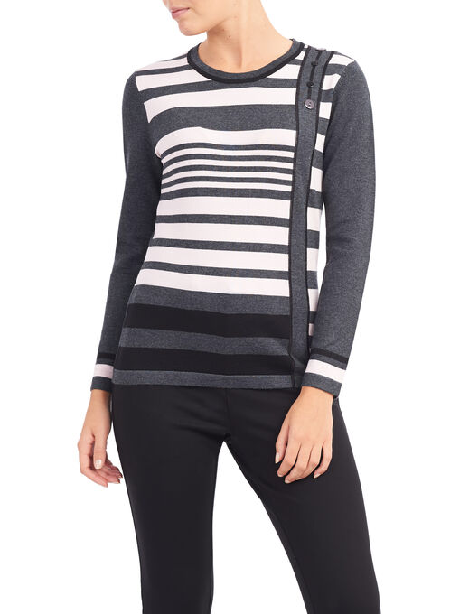 Stripe Print Button Trim Sweater, Grey, hi-res