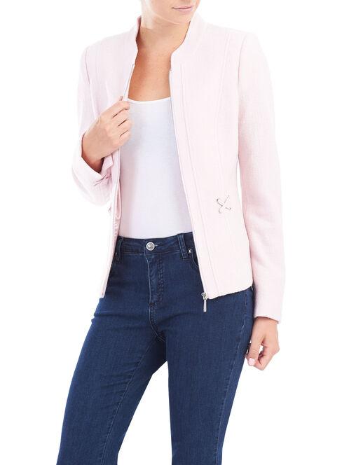 Wool Blend Lattice Detail Jacket, Pink, hi-res
