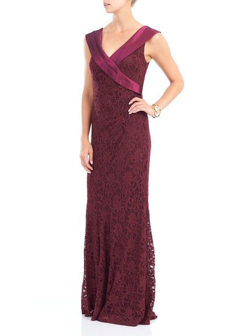 Glittered Lace Gown, Red, hi-res