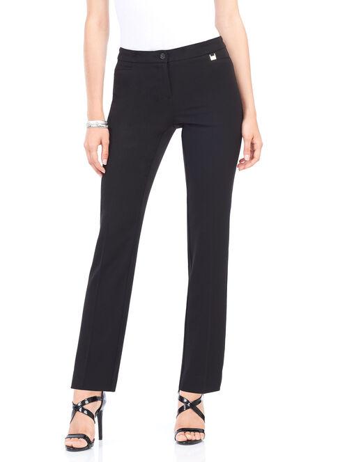 Faux Pocket Straight Leg Pants, Black, hi-res