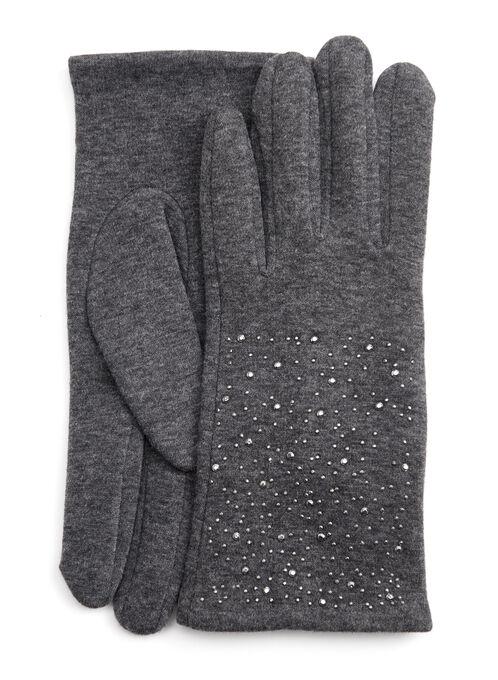 Metal Stud Gloves, Grey, hi-res