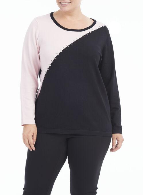 Asymmetrical Colour Block Knit Top, Black, hi-res