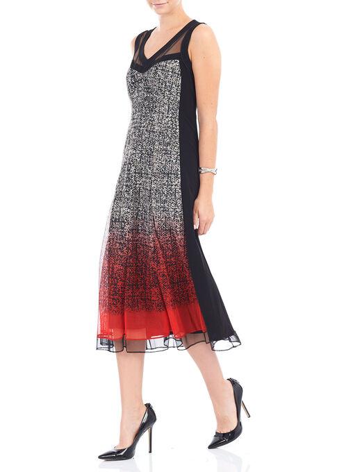 Sleeveless V-Neck Dress, Red, hi-res
