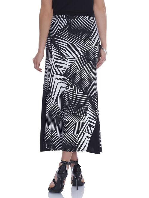Zig Zag Print Maxi Skirt, Black, hi-res