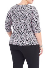Knot Neck Printed Top, Red, hi-res