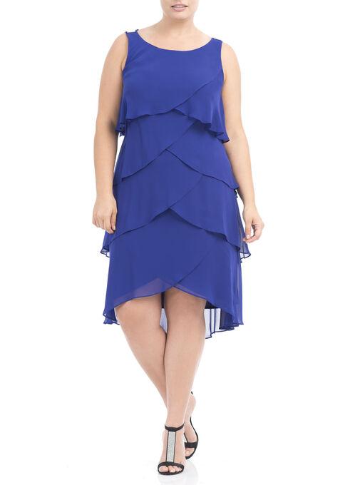 Sleeveless Tiered Chiffon Dress, Blue, hi-res