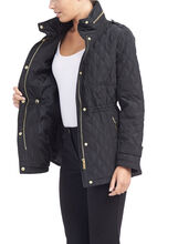 Quilted Gold Zipper Jacket, Black, hi-res