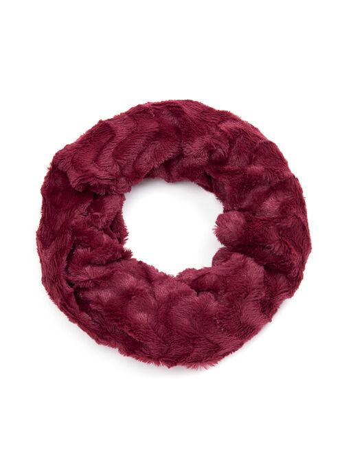 Wave Pattern Faux Fur Loop Scarf, Red, hi-res