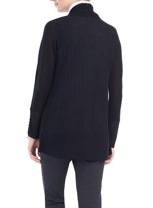 Crochet Shawl Collar Cardigan, Black, hi-res