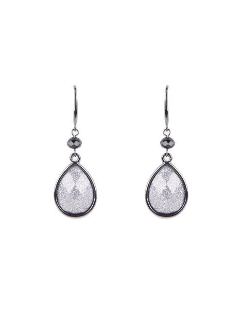 Teardrop Glitter Earrings , Grey, hi-res