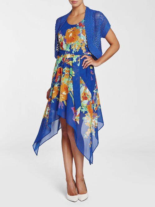 Chiffon Floral Print Dress with Bolero, Blue, hi-res