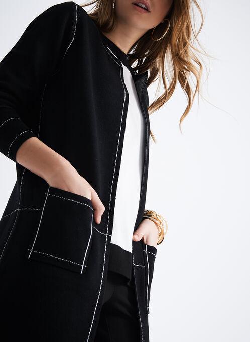 Stitch Detail Knit Tunic Cardigan, Black, hi-res