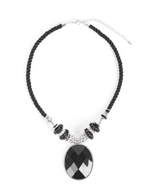 Oval Faceted Stone Necklace, Black, hi-res