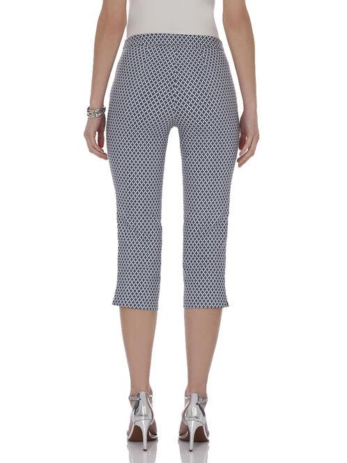 Printed Straight Leg Capri Pants , Blue, hi-res