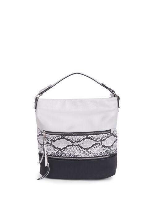 Snake Print Bucket Bag , Grey, hi-res