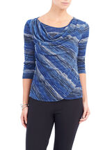 3/4 Sleeve Draped Front Top, Blue, hi-res