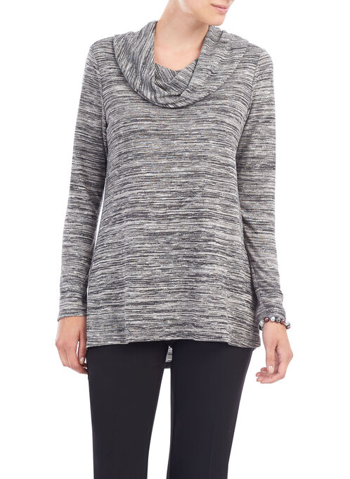 Cowl Neck Heathered Knit Top, Black, hi-res