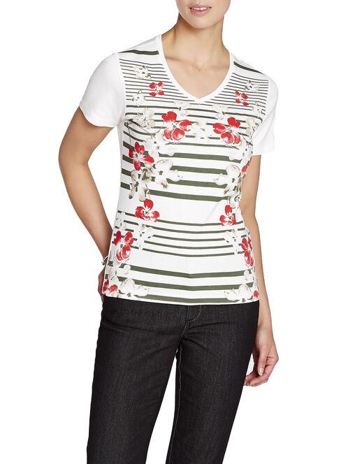 Printed V-Neck T-Shirt, Green, hi-res