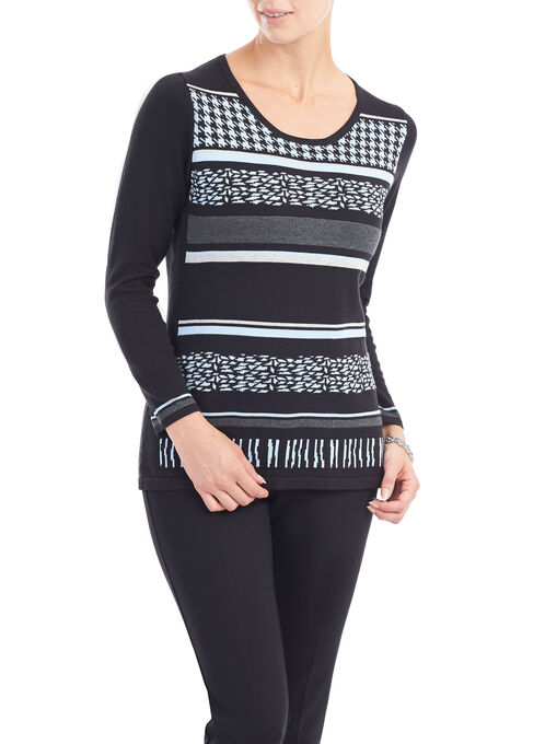 Long Sleeve Printed Knit Sweater, Black, hi-res