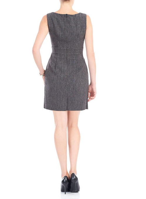 Sleeveless Pearl Neck Artichoke Dress, Black, hi-res