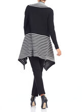 3/4 Sleeeve Rib Knit Cardigan, Black, hi-res