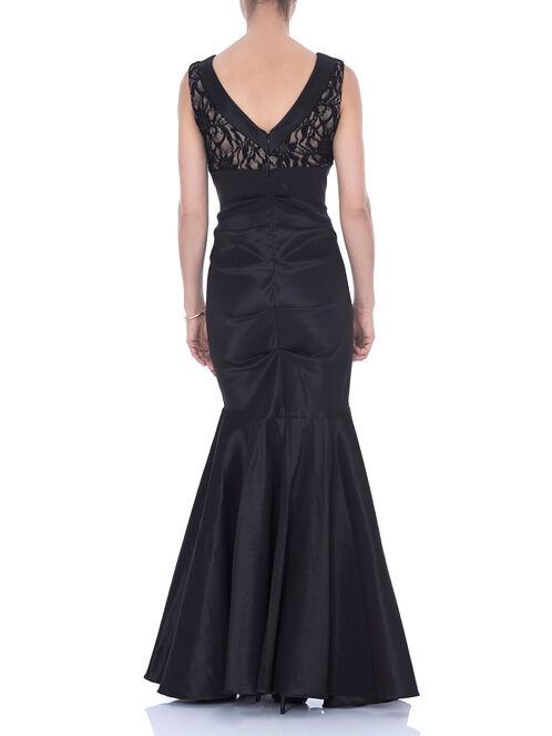 Taffeta Ruched Mermaid Gown , Black, hi-res