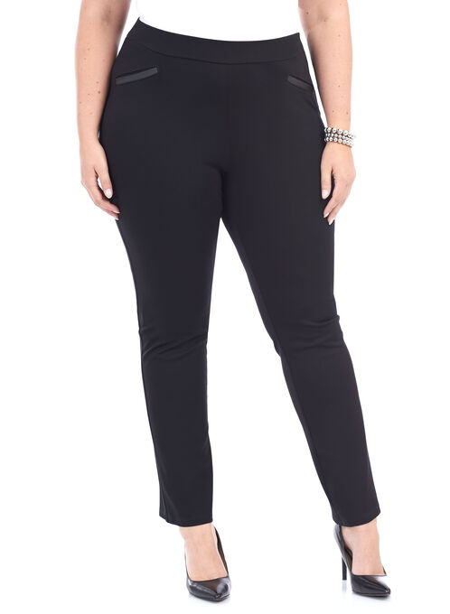 Slim Leg Knit Pant , Black, hi-res