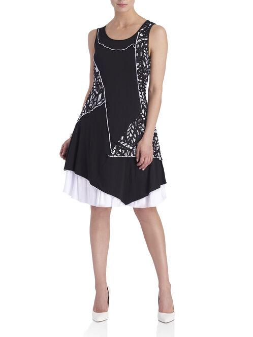 Lace Printed Fit & Flare Dress, Black, hi-res