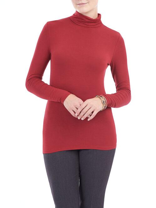 Basic Soft Knit Turtleneck Top, Red, hi-res