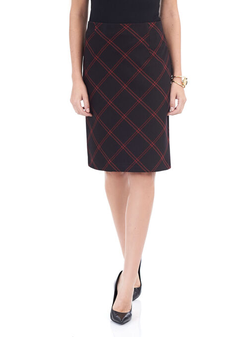 Printed Ponte Pencil Skirt , Black, hi-res