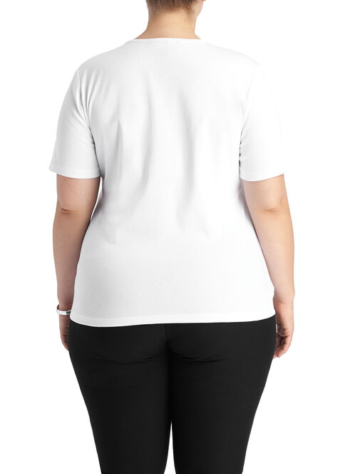Short Sleeve Eyelet T-Shirt, White, hi-res