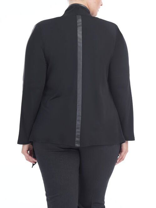 Zipper Pocket Inverted Collar Blazer, Black, hi-res
