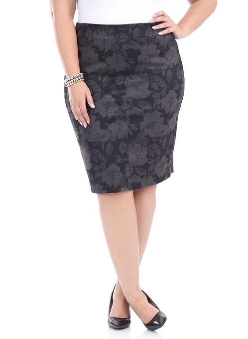 Ponte Floral Print Pencil Skirt , Black, hi-res