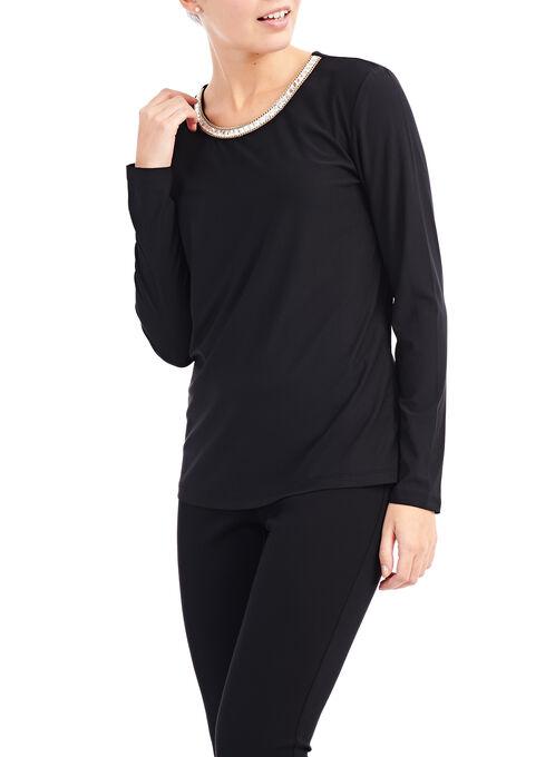 Jewel Trim Long Sleeve Top, Black, hi-res