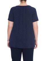 Short Sleeve Dot Print Top, Blue, hi-res