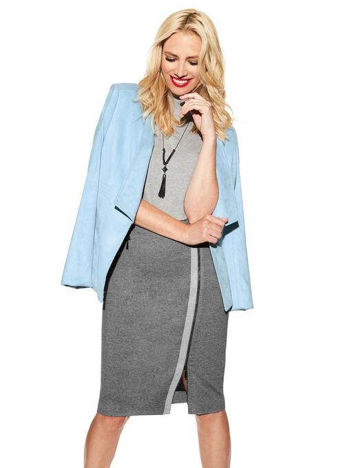 Zipper Trim Pencil Skirt , Grey, hi-res